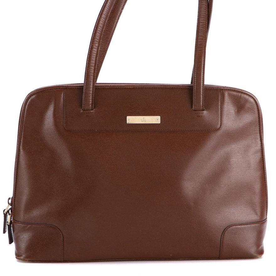 Gucci Brown Leather Dome Top Handbag