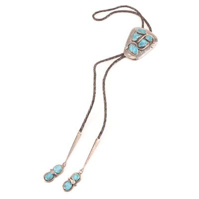 Effie C. Zuni Sterling Silver and Turquoise Bolo Tie with Braided Leather Cord