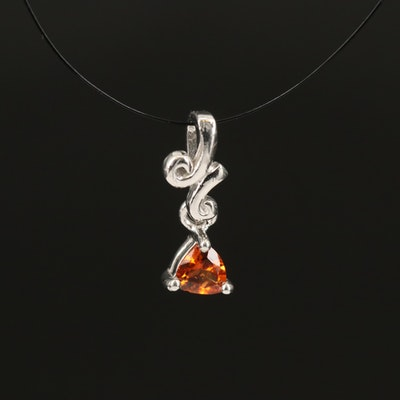 Sterling Hessonite Garnet Solitaire Pendant with Scrollwork