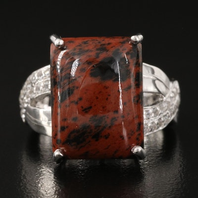 Mahogany Obsidian with Topaz Sterling Ring