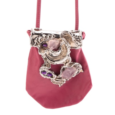 Carvalhu Rio Ernandes Copa Collection Amethyst and Leather Crossbody Bag