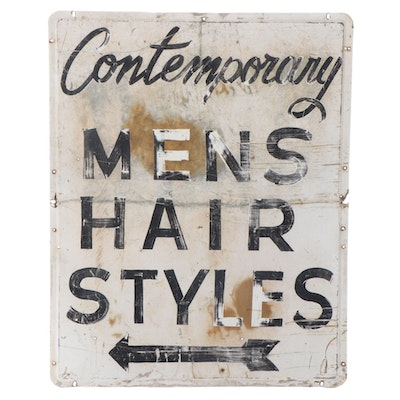 Contemporary Mens Hairstyles Metal Shop Sign, Mid-20th Century