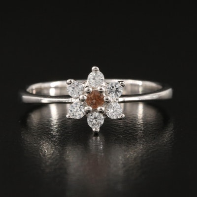 Sterling Silver Tourmaline and Zircon Flower Ring