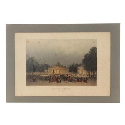 Eugène Cicéri Hand-Colored Lithograph of Champs-Elysses