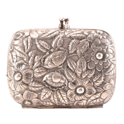 Silver-Tone Metal Floral Repousse Hinged Case with Kisslock Clasp