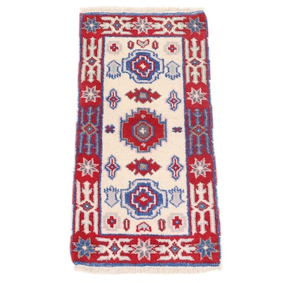 2'1 x 4'2 Hand-Knotted Indo-Caucasian Kazak Accent Rug
