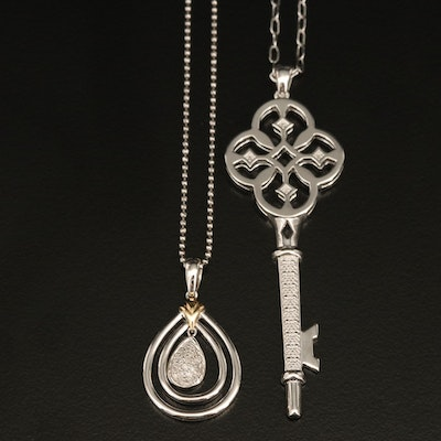 Sterling Diamond Pendant Necklaces Including 14K Gold Accents