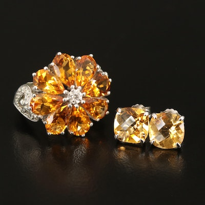 Sterling Citrine Stud Earrings and Sterling Citrine and Diamond Flower Ring