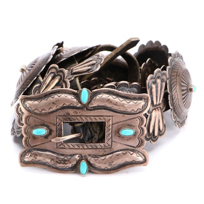 Sterling Silver and Turquoise Southwestern Style Concho Leather Belt