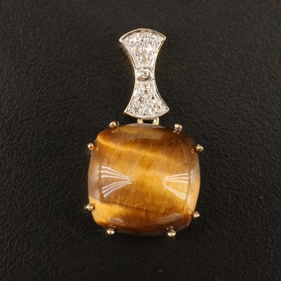 Sterling Tiger's Eye and White Topaz Pendant