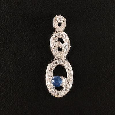 Sterling Sapphire and White Zircon Stepped Oval Pendant