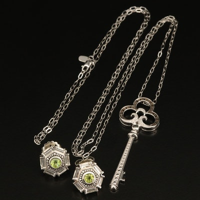 Sterling Key Pendant Necklace and Earrings with Diamonds, Peridot and Topaz