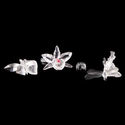 Swarovski Crystal Orchid, Dragonfly, Ladybug and Butterfly Figurines