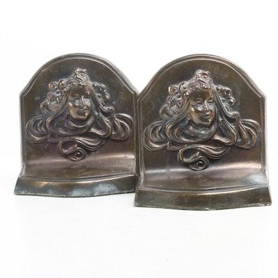 Art Nouveau Cast Brass Bookends, Early 20th Century