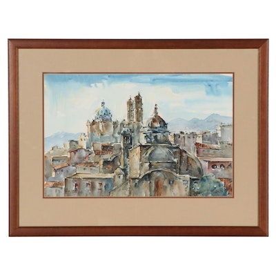 Jamie Oates Mexican Cityscape Watercolor Painting, Late 20th Century