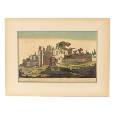 Hand-Colored Lithograph After Jacques Prou the Elder of View of Rome