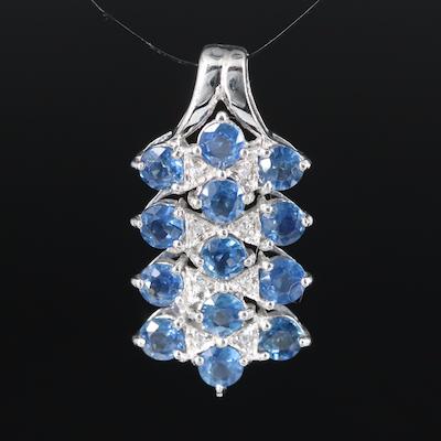 Sterling Sapphire and Zircon Bar Pendant