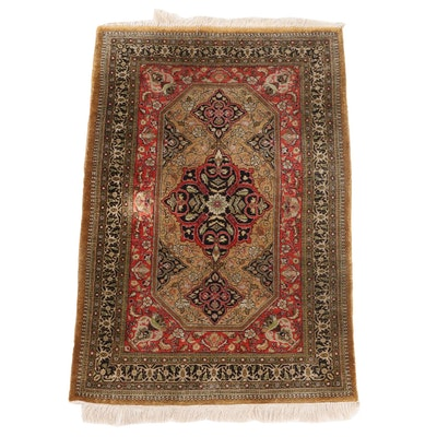 2'7 x 4'3 Hand-Knotted Persian Kashan Accent Rug
