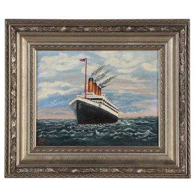 Marine Oil Painting of Ship at Sea