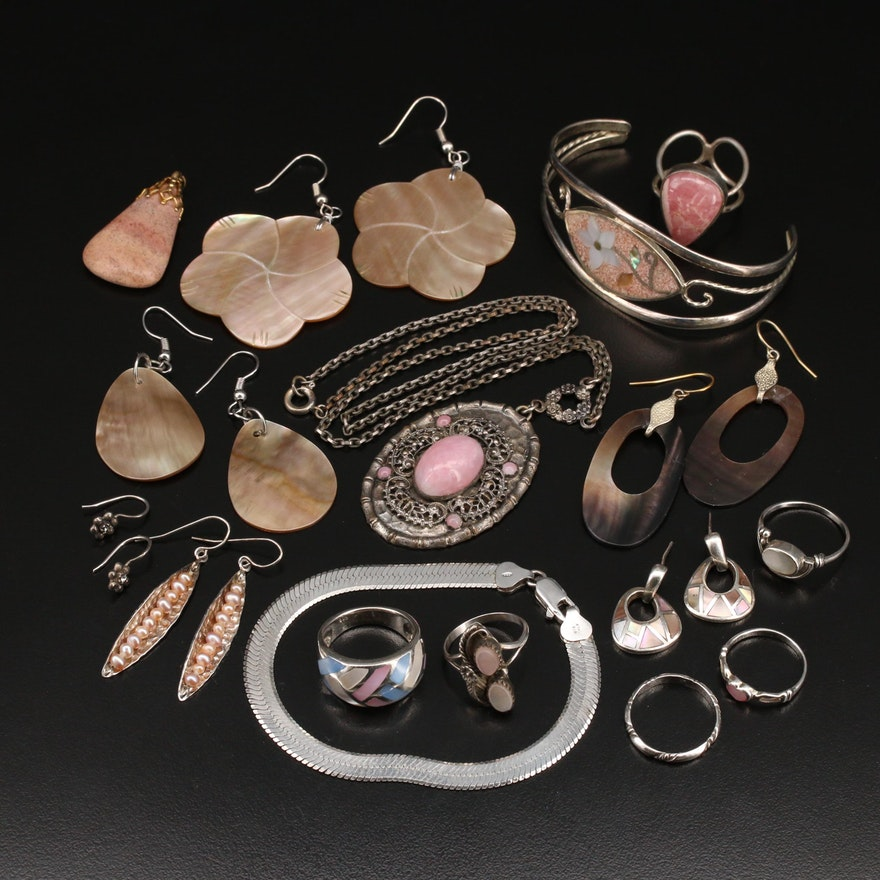 Sterling Grouping Including Abalone, Rhodochrosite and Mother of Pearl