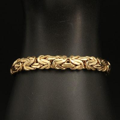 14K Gold Flat Byzantine Chain Bracelet