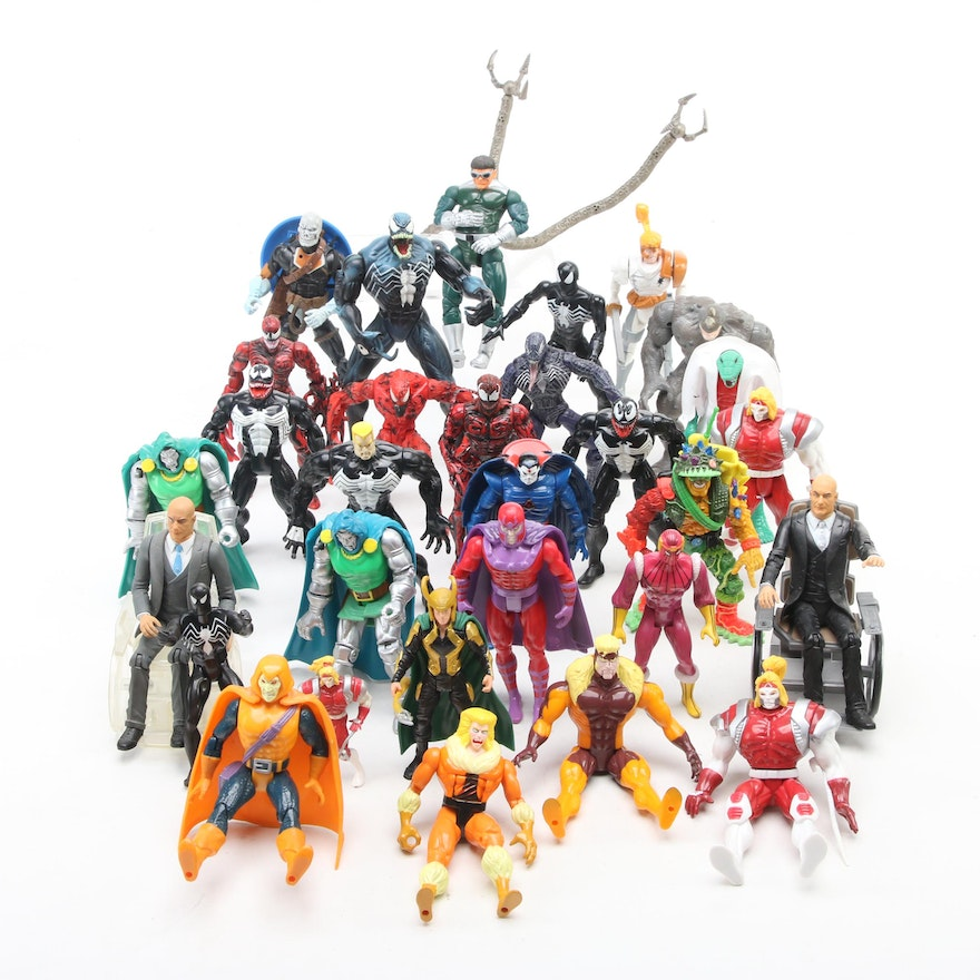 Spider-Man, X-Men, and Other Action Figures, Late 20th Century