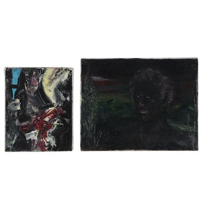 Jon Scharlock Abstract Portrait Oil Paintings
