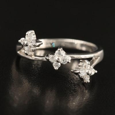 Sterling Zircon Flower Ring