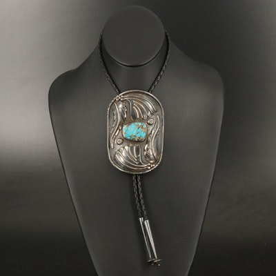 Southwestern Style Sterling Silver and Turquoise Bolo Tie