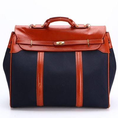 Asprey & Garrard Large Travel Bag in Canvas and Leather