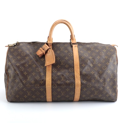 Louis Vuitton Keepall 55 in Monogram Canvas and Vachetta Leather