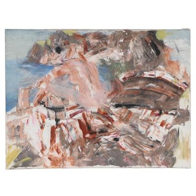 Jon Scharlock Abstract Figural Oil Painting