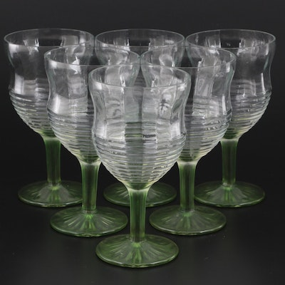 Ribbed Glass Goblets with Green Stem Accents, Mid to Late 20th Century