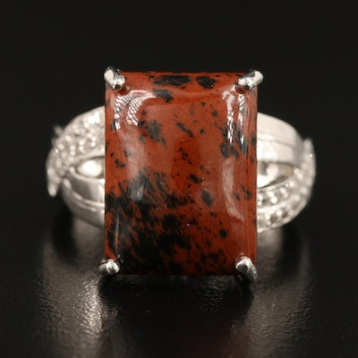 Sterling Mahogany Obsidian, Zircon and Topaz Ring with Crisscross Shoulders