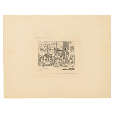 """Lithograph After William Hogarth """"For The Benefit of Spiller"""""""
