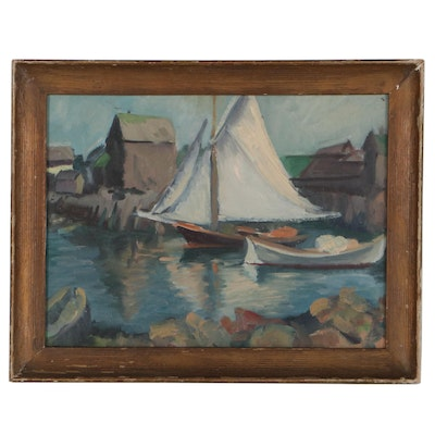 Impressionist Style Oil Painting of Boats, Early-Mid-20th Century
