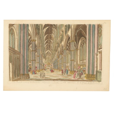 """Hand-Colored Engraving """"The Inside Vien of Westminster Abby,"""" Late 18th Century"""