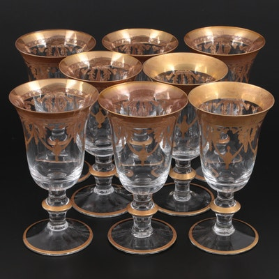 Gilt Etched Water Goblets, Mid-20th Century