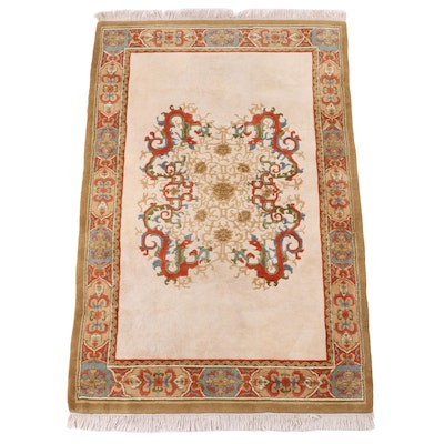 5'10 x 9'5 Hand-Knotted Indian Carved Pile Area Rug