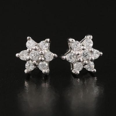 Sterling Silver Zircon Stud Earrings