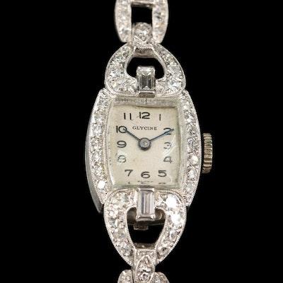 Glycine Platinum Diamond Wristwatch and Palladium Diamond Band