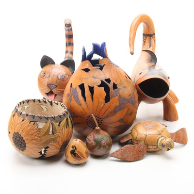 Hollowed Gourd Vases, Animal Figurines, and Other Decor