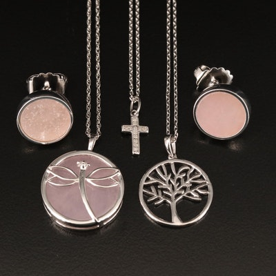 Dragonfly, Tree and Cross Necklaces with Earrings Including Quartz and Diamond