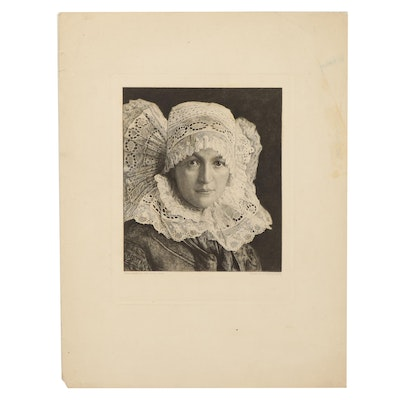 """Etching After Georg Jahn """"Old Silesian Girl,"""" Late 19th Century"""