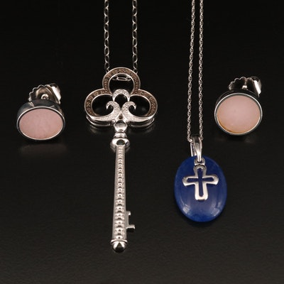 Sterling Key and Cross Necklace with Earrings Including Quartzite and Quartz