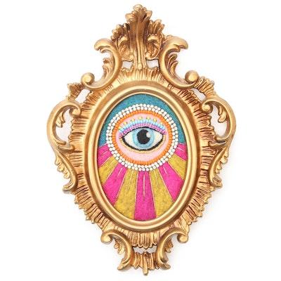 Sarah Miller Fiber Art Wall Hanging of Mystic Eye, 21st Century