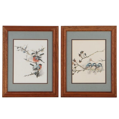 Offset Lithographs After Mads Stage of Birds on Branches