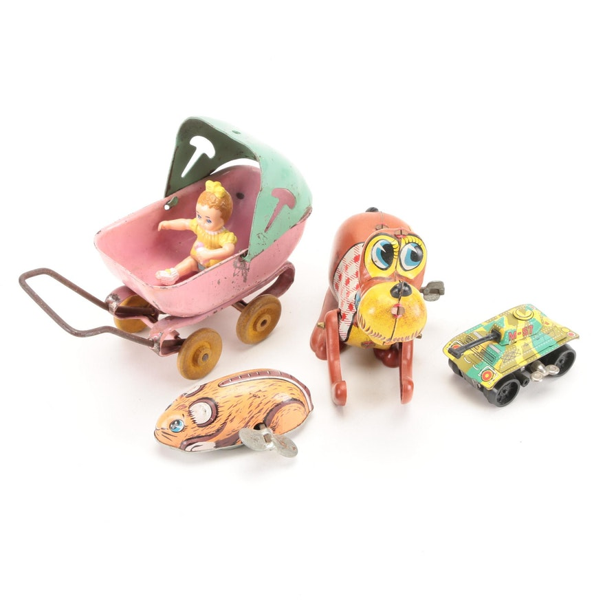 Tin Litho Wind-Up Toys, Metal Baby Stroller