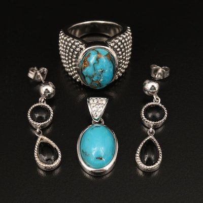 Sterling Grouping Including Michael Dawkins Turquoise Ring, Topaz and Black Onyx