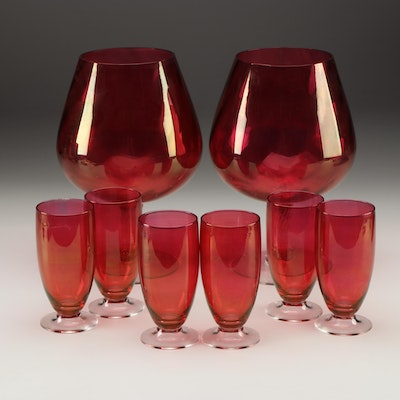 Cranberry Flashed Glass Iced Tea Glasses and Large Glass Figural Vases